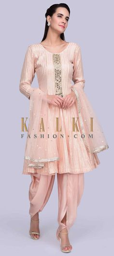 Peach self thread embroidered georgette suit with sequins highlight. It comes with an embroidered placket with mirror, zardosi, moti and zari. Salwar Suits, Salwar Kameez, Kurti, Anarkali, Lehenga, Indian Dresses, Indian Wear, Dress Patterns, Peach