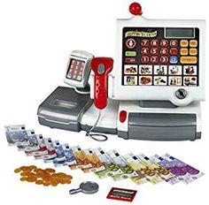 Geräte Kaufläden & Zubehör Kinderkasse mit viel Zubehör Happy Bear mit Scanner,Mini-Waage und Mikrofon