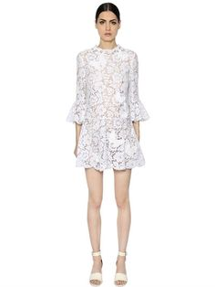 VALENTINO - BUTTERFLY PATCH FLARED LACE DRESS - DRESSES - WHITE - LUISAVIAROMA
