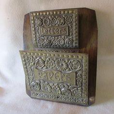 Antique Art Nouveau Brass & Wood Letter Holder Paper by Neatcurios