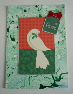 Handmade Christmas Card gift idea by TIRA STANFORD found on MyOwnCreation: Christams card showing a dove , verse inside reads, with warmest thoughts and best wishes for a wonderful christmas and a Happy New Year