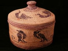 Vintage Rare Nootka Lidded Basket with Ducks and Birds Nuu-chah-nulth, or Nootka, First Nation, Vancouver Island, B.C., very finely woven basket of bear grass and cedar.  Brown, black, orange and yellow dyed bear grass, natural bear grass and natural cedar bark are the materials used in this wonderful piece. This piece is in excellent condition with no wear. The basket measure 3 7/8 inches in diameter and it is 3 3/8 inches high. Basket without lid is 2 1/8 inches high  SOLD $525.00 on…