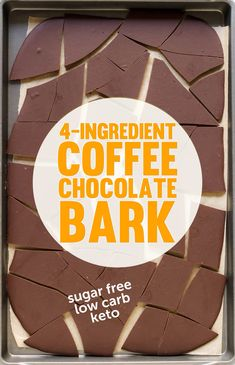 This four ingredient Coffee Chocolate Bark Candy is ultra rich, chocolatey, and sweet, you'd never know it's sugar free and low carb too! Chocolate Bark, Chocolate Coffee, Chocolate Flavors, Chocolate Recipes, Chocolate Syrup, Healthy Chocolate, Healthy Sugar, Healthy Cake, Healthy Treats