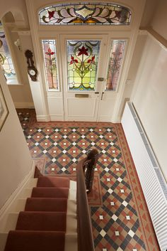 The Richmond pattern - Victorian Floor Tiles by Original Style UK. - House Plans, Home Plan Designs, Floor Plans and Blueprints Hall Tiles, Tiled Hallway, Victorian House Interiors, Edwardian House, Edwardian Hallway, Hall Flooring, Porch Flooring, Victorian Tiles, Victorian Flooring