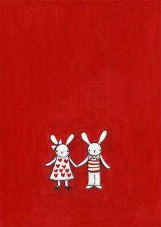 Conejos en rojo
