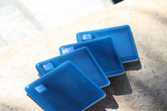 Fused Glass Coasters Set of 4 Deep Aqua by JMFusions on Etsy, $30.00... gives me an idea for make your own coasters