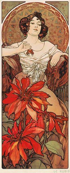 Image: Alphonse Mucha - The Precious Stones: Ruby