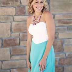 strapless cream and mint dress from Sta-Glam for $39.99 on Square Market