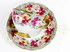 Royal Sealy Vintage Teacup, Tea Cup and Saucer, Gorgeous Hand Painted – The Vintage Teacup
