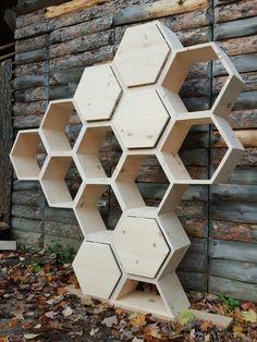 Shelving Unit ~ Modern Furniture / Retail Shelving / Salon Decor / Wedding Decor / Kitchen Cabinet / Geometric Shelves / Honeycomb Shelves