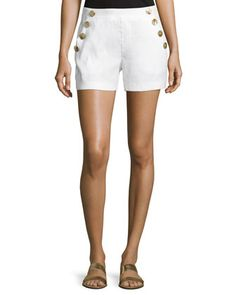 Sailor-Button Linen-Blend Shorts by Laundry By Shelli Segal at Neiman Marcus Last Call.