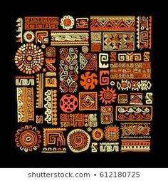 Illustration of Ethnic handmade ornament for your design. vector art, clipart and stock vectors. Pattern Sketch, Pattern Drawing, Graphic Design Print, Graphic Design Tutorials, Logo Design, Design Ideas, Tribal Images, Mexican Pattern, Papel Scrapbook