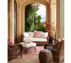 Portico   Olivia Star Pendant ($150 Pottery Barn), Outdoor Rug And Pillows