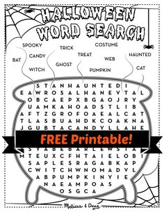 "{Halloween Word Search} It'll be ""a scream"" for kids to find all the Halloween words hidden in this steaming pot of witch's brew."