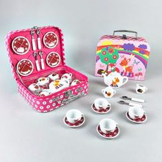 Children's Ceramic Woodland Animals Tea Set: This gorgeous toadstool themed tea set comes in a beautiful, colourful carry case featuring a pink, purple and white flowery edge. A really lovely set which can create hours of fun. Each set includes a tea pot, four cups and saucers, a milk jug, sugar bowl and four tea spoons.