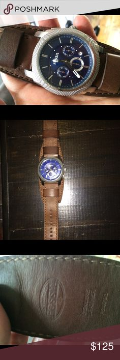 Men's fossil watch Awesome fossil watch. Blue face. Brown leather strap. Needs new battery. Worn a handful of times. Fossil Accessories Watches