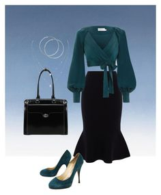 """""""Teal and Black Business"""" by love-peace-music-acting on Polyvore featuring McKleinUSA, Karen Millen, Zimmermann, Brian Atwood and Messika"""