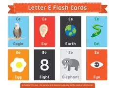 Free Printable Letter E Flash Cards Kindergarten Syllabus, Kindergarten Language Arts, Vocabulary Flash Cards, Vocabulary Activities, English Fun, English Lessons, Printable Letters, Free Printable Flash Cards, Letter Flashcards