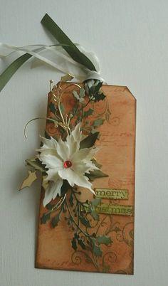 Christmas tag with foamiran poinsettia using Tim Holtz die