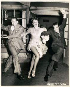 """Phil Silvers, Rita Hayworth and Gene Kelly in """"Cover Girl"""" directed by Charles Vidor, 1944"""