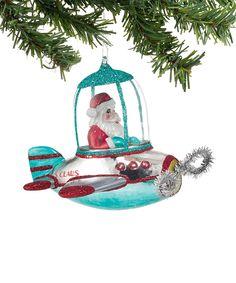 1956 Christmas Santa Plane Ornament