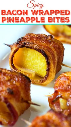 Spicy Bacon Wrapped Pineapple Bites make the perfect sweet, spicy, and salty finger food. Spicy Bacon Wrapped Pineapple Bites make the perfect sweet, spicy, and salty finger food. Finger Food Appetizers, Finger Foods, Appetizer Recipes, Finger Food Recipes, Game Recipes, Yummy Appetizers, Cheat Meal, Cheap Clean Eating, Clean Eating Snacks