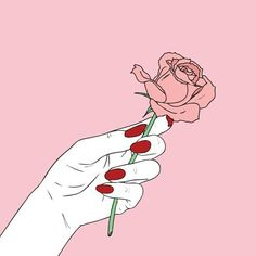 red nails, rose, pink