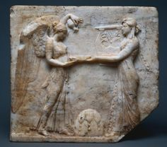 Relief of Apollo with Nike, 27 BC - 14 Italy, Roman, Augustan period  Greek marble
