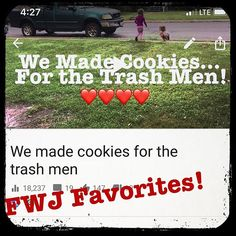 Ive just been watching one of our old favorites from FWJ. We made cookies for the Trash Men. I cannot believe how small the girls were. So much time has passed! So quickly... http://youtu.be/vwaLgOh93O8 #trashmen #kindness #showingthankfulness