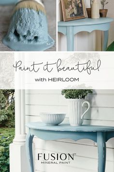 Heirloom by Fusion Mineral Paint! Something borrowed, something blue - this cozy, vintage blue is from the collection. Muted and dusty, this blue is perfect for giving new life to an old hand-me-down! Blue Paint Colors, Chalk Paint Colors, Favorite Paint Colors, Kitchen Paint Colors, Paint Colors For Home, Chalk Painting, Paint Furniture, Cool Furniture, Furniture Refinishing