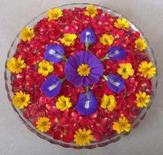 Purple n yellow flowers on rose petals..