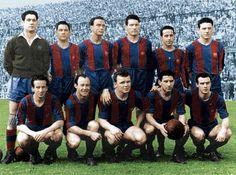 The Five Cup Team, season '51-'52 (left to right, up to down): Ramallets, Seguer, Biosca, Segarra, Flotats y Bosch; Basora, César, Kubala, Moreno & Manchón.