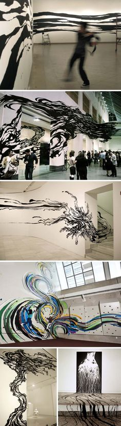 Sun K. Kwak, Korean art, contemporary installation using tape, drawing with tape, 280 Hours, cool art