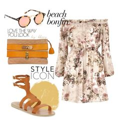 """""""BEACH BONFIRE #2"""" by kkaey ❤ liked on Polyvore featuring River Island, Krewe, Ancient Greek Sandals and Marc Jacobs"""