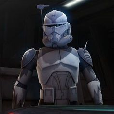 Clone Commander Wolffe ( for some reason he can act so cute sometimes.) but that's just me.