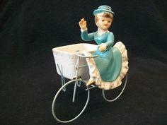 Vintage Japan Lady Girl Bicycle Tandum Bike Porcelain Doll Figurine Planter Vase | eBay