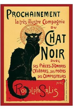 VINTAGE FRENCH BLACK CAT POSTER Chat Noir Print Wall Art Large