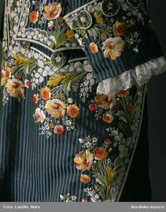Detail of Frockcoat and waistcoat of embroidered silk, France (made) 1785, Worn by Axel von Fersen. Nordiska museet inv nr 154745.