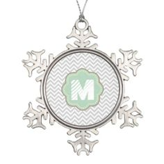 Gray and White Chevron monogram Christmas ornament