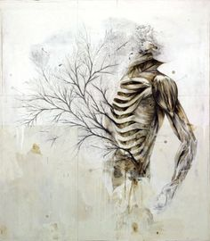 """Nunzio Paci's Graphite and Oil Paintings Merge Nature and Anatomy - His art explores the relation between men, animals and nature - His works always represents a body including a lot of mutations. The painter says his intention is """"to explore the infinite possibilities of life, in search of a balance between reality and imagination."""""""