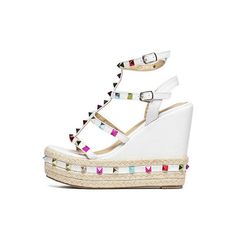 Caged Colorful Studded Wedge Espadrilles White ($35) ❤ liked on Polyvore featuring shoes, sandals, multi color sandals, white wedge shoes, espadrille wedge sandals, white espadrilles and wedge heel sandals