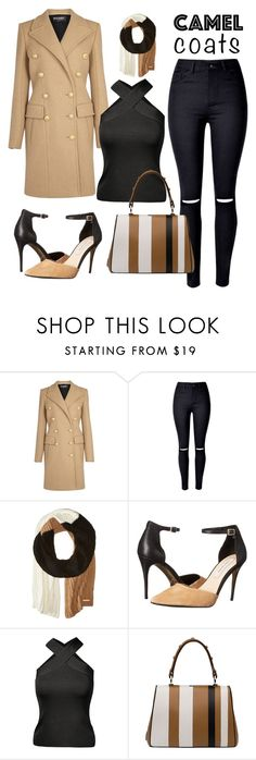 """Camel coat"" by sangarest ❤ liked on Polyvore featuring Balmain, MICHAEL Michael Kors, Kristin Cavallari and Prada"