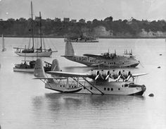 Samoan Clipper together with Centurus in mechanics bay in Auckland New Zealand circa 1937-8 as its last visit to NZ as it was subsequently destroyed in fire.