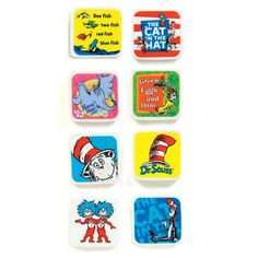 Set of 4 Dr Seuss Cat In The Hat Giant Erasers Styles 1 /& 2