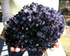 Amazing Black Amethyst Stalactite. Deep black purple, Uruguay. Has calcite core. photo: GHMinerals Geology Wonders