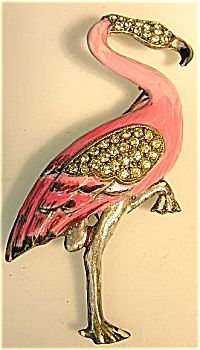 Pink Flamingo  Vintage  Rhinestone Pin  I love this...need two...one for Patty and one for me!!