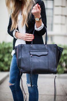 Black bag + Black Blazer + Distressed Jeans