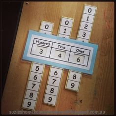 Free Printable Place Value Slider…what a great teaching tool! @Pamela Culligan Culligan Schrock this would be perfect for Chris No?