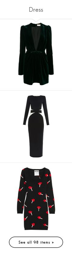 """""""Dress"""" by fashionmodelstyle ❤ liked on Polyvore featuring dresses, green, green long sleeve dress, mini dress, long-sleeve mini dresses, long sleeve mini dress, long sleeve short dress, balmain, black and kleider"""