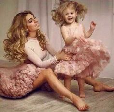Mother and daughter in matching clothes